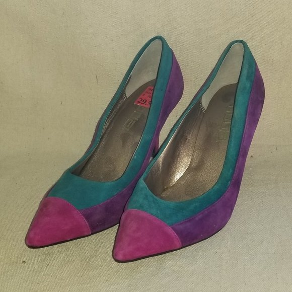 Moda Spana patchwork suede heels sz 7M